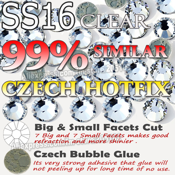 Imitation Czech HotFix Rhinestones SS16 Clear Crystals 1440pcs/Bag FlatBack strass with similar good Bubble Glue for DIY garment(China (Mainland))