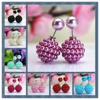 Хиты 2014 мода марка ювелирные изделия перлы двойника серьги стержня для женщин роскошные шамбалы бусины серьги бесплатная доставка