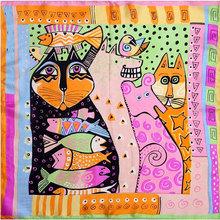 100 Silk Scarf Women Scarf Cat Scarf Silk Bandana 2015 Hijab Print Cat Fish Middle Square