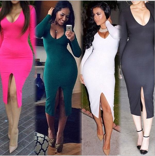 Europe and America Long sleeve Deep V Neck Sexy Slit Nightclub Dress women Plus Size Sexy Midi Party Clothing 4 Colors S-XXXL(China (Mainland))