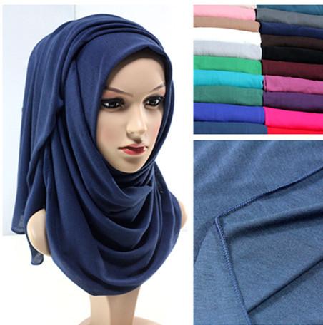 2015 New design 20 colors JERSEY scarf jersey shawl cotton muslim hijab maxi 180*80cm retail(China (Mainland))