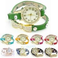 New Fashion Wrap Around Bracelet Watch Bowknot Crystal Synthetic Leather Chain Women's Quartz Wrist Watches 19342