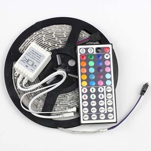 5m RGB Led Strip 3528 Non Waterproof SMD Fexbile Lighting Dc 12v Fita De Led+24 or 44key IR Remote Controller luzes led(China (Mainland))