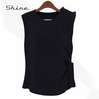 New 2015 Elegant Asymmetrical Feminine Blouses Round Neck Sleeveless Shirts Women Solid Color Casual Chiffon Blusas Mujer XF3015