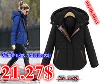 2015 New Brand winter jacket women Elegant fashion Plaid zipper Hooded winter coat Slim Warm womens winter jackets and coats