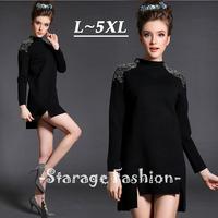 L-5XL Brand Plus Size Women Punk Rivet Beaded Stand Collar Long Sleeve High Low Hem Dresses 2015 Spring Summer Casual Dress 1527