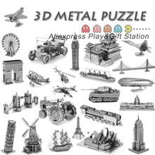 3D rompecabezas de Metal de tierra de láser 3D modelo de corte 3D regalo DIY torre Eiffel Big Ben helicóptero torre de Pisa de combate del ala juguetes(China (Mainland))