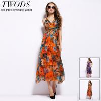 Twods 2015 new women long slip silk dress flower print long breach dress women summer dress Sexy V-neck females top grade
