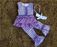 2015 summer girls ruffle outfit baby girls ruffle capri dress set with matching necklace and headband