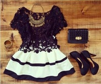 New Year is not closing 2015 new fashion dresses lace o-neck black short sleeve mini women casual dress