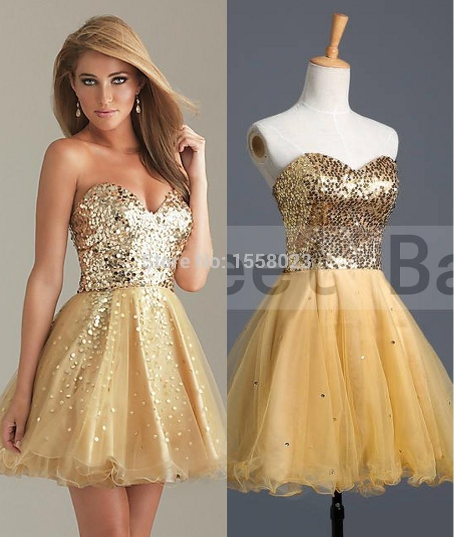 Cheap Gold Sequin Dresses