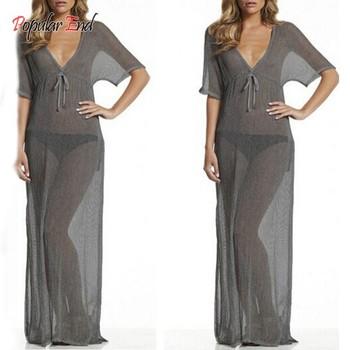 Новый 2015 мода женщины пляж платье сексуальный летом шифон длинные платья глубокий V шеи пляж бикини прикрыть праздник пляжная одежда 12