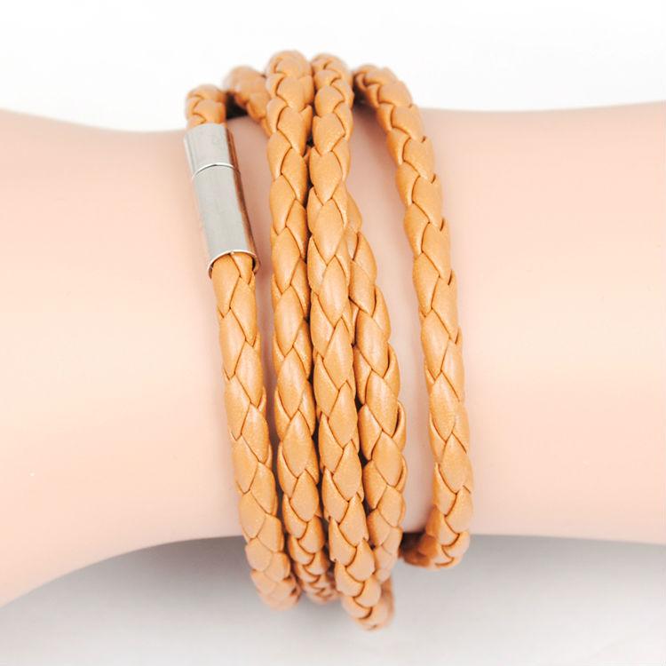 5 слоя кожа браслеты для мужчины женщины кожа мужчины ювелирные изделия Pulseira Masculina