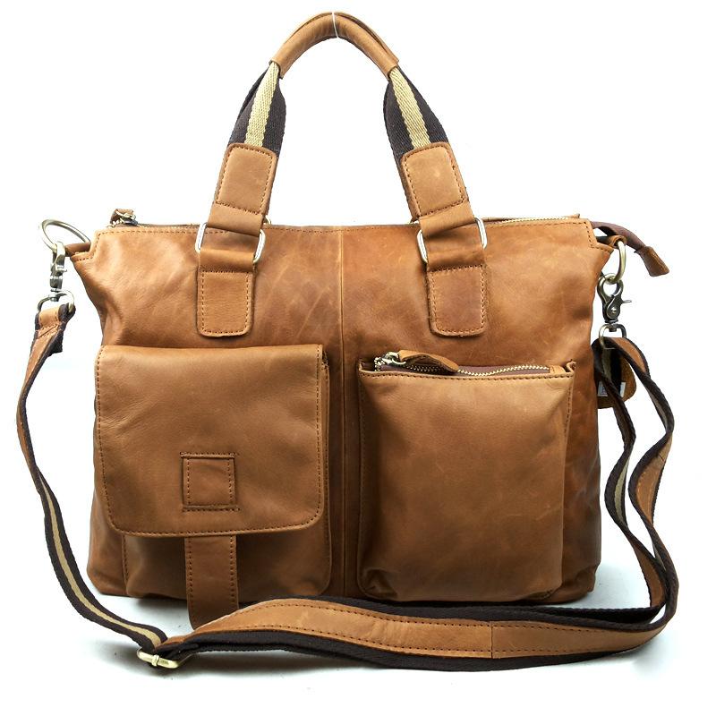 Genuine leather bags for men high quality leather laptop bag fashion brand men messenger bags replica designer handbag V80G230(China (Mainland))