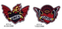 Wholesales 100pcs/lot 2 design a pair Embroidered novelly patch - hate & love with wing