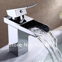 Great Waterfall Bathroom Basin Sink Deck Mounted Single Hole Chrome Ceramic Single Hole Faucet Tap L-3630