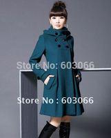 2014 Free Shipping Hot Sale Women's Lady's Fashion winter Wool coat Jacket  Size:M-3XL 4 colors choice