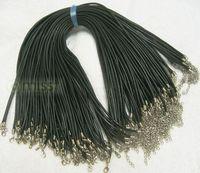 Колье-цепь 100pcs black real round leather necklace cords 2mm 18