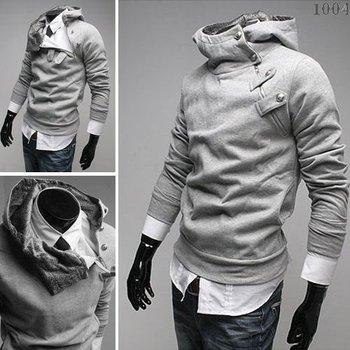 Hoody Hat clothing jacket new Fur collar Button Fleece Hooded court oblique zipper sweater men's Hoodie jacket Slim Coats JK02