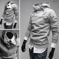 Hoody Hat clothing jacket new Fur collar Button Fleece Hooded court oblique zipper sweater men's Hoodie jacket Slim Coats JK02