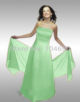 Free ship Hot Sale Sweetheart Satin Gown with Pleated Waist and Lace Up Back Prom Dresses/Evening Dresses Green