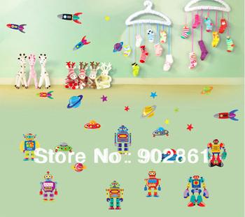 [funlife]-children room Wall Stickers Cartoon Robots space alien Art Wall Sticker Decal Deco