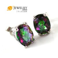OVAL 3.6ct Genuine Rainbow Fire Mystic Topaz Earrings Studs Sterling Silver Free shipping