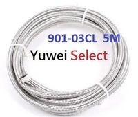 TEFLON (PTFE) Stainless Steel Braided Hose with PVC CLEAR Cover ( ID 3.5 mm / OD 6.2 mm / COVER OD 7.3 mm, One piece = 5 Meter)