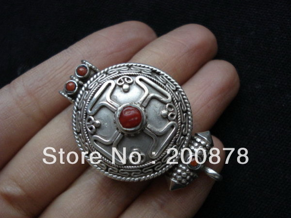 TGB040 Tibetan 925 sterling silver Cross Prayer box,40*24mm,GAU amulets pendant,Nepal handmade jewelry,free shipping(China (Mainland))