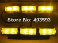 FREE SHIPPING Super Bright 2x 6 LED Car Strobe Light High Power AMBER