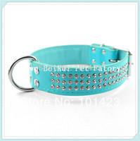 Free Shipping Berry MOQ:15pcs 3 Rows Shinning Rhinestone Real  Leather Dog Collar  Medium Collar