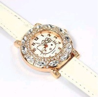 Free shipping,5pcs/lot New Lady's Hello Kitty Rhinestones Wrist Watch Pink fashion watches 24mm Stainless Steel leather band