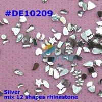 Freeshipping- 200 wheels/lot All Clear Mix Shape Silver Rhinestones nail acrylicstone +wheel Wholesales SKU:D0003XX