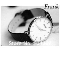 Men Leather Quartz Watch Top Brand Sinobi Watch Black & White & Golden  Color Free Shipping S9140