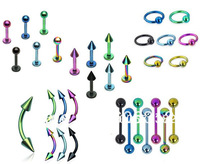 Free Shipping,300 Pieces/LOT Assorted Anodized Body Jewelry Include Barbells, Labrets, CBR, Circulars, Banana Barbells Wholesale