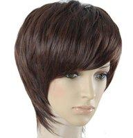High Quality man wigs, men wig,darkbrown, natural black wigs8A112