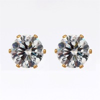 5 PCS Wholesale Unisex Mens Womens Jewelry Round Cupid Cut Cubic Zirconia CZ Stone18K Yellow Gold Plated Stud Earrings 8MM