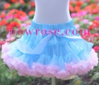 PETTISKIRTS girls pettiskirt Light blue+Pink ruffle fluffy pettiskirt kids tutus skirts baby mini dress