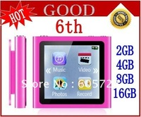 "New 6th digital MP4 Player 2GB/4GB/8GB/16GB 1.8"" touch Screen Free shipping"