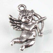 150pcs/lot New Charms Alloy Antique Silver Pendant Love God Cupid Dangle Fit European Necklace & Bracelet 140191