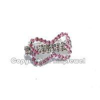 6Pcs lot new free shipping rhinestone pink bone pet/girls hairclip jewelry
