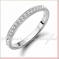 free shipping silver rhinestone jewlery lots of white cubic zircon engagement pure 925 silver rings WR092w