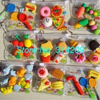 Free Shipping, Mixed 8 Different Sets Emulational Food/Animal/Racket Design-Children Cute Rubber Eraser-4 pcs/pack, 16 packs/lot