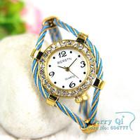 10pcs/lot Mixed Color Women's Wrist Bracelet Bangle Ladies Watch Free Ship