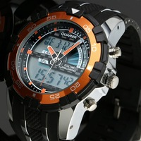 ESS Men's Black Rubber Strap Orange Bezel Analog Digital Dual Dial Sport Watch WS083