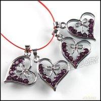24x Charms Purple Rhinestone Bail Pendant Alloy Heart Necklace/Earring Dangle Bead Fit European Jewelry DIY 140231