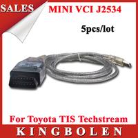 [5pcs/lot] Wholesales Hot Selling MINIVCI FOR TOYOTA TIS J2534 Techstream Single OBD2 Diagnostic Cable