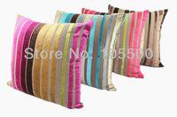 Free Shipping Cotton/Rayon Yarn Dyed Stripe Plain Velvet Cushkon Cover Many Colors In Stock & Customized HT-CRVYDC