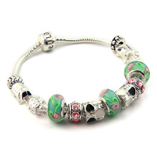 Aliexpress Hot Sell 925 Silver European Charm Bracelet Bangle for Women with Murano Glass Beads Fashion