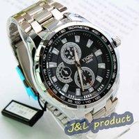Three-eyed six-pin domineering personality mens quartz steel band watch, wrist quartz analog watch, FREE SHIPPING